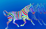 Joyce Dickens - Mystical Zebra On Blue