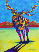 Lakota Paintings - Mythical Elk by Derrick Higgins