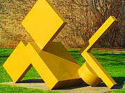 Campus Sculptures Prints - N  D U Yellow Sculpture Print by Tina M Wenger