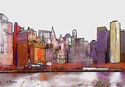 Broadway Digital Art Metal Prints - N Y  Harbor Metal Print by Linda  Parker