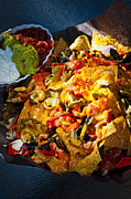 Sauce Photos - Nacho basket with cheese by Elena Elisseeva