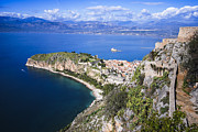 Byzantine Framed Prints - Nafplio Peninsula Framed Print by David Waldo