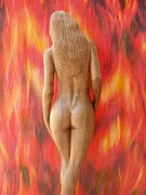 Wooden Sculptures Prints - Naked Beauty - Walking into Fire Print by Carlos Baez Barrueto