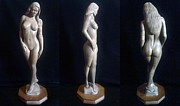 Sculptural Sculpture Prints - Naked Seduction - Wood Sculpture of Naked Woman Print by Carlos Baez Barrueto