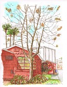 Red Buildings Drawings Framed Prints - Naked tree and brown house in Cahuenga Blvd - Hollywood - California Framed Print by Carlos G Groppa