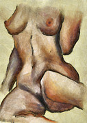 Nude Girl Digital Art - Naked Woman Body - Torso by Michal Boubin