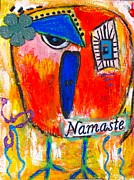 Namaste Paintings - Namaste birdie acknowledges the soul in you  by Corina  Stupu Thomas