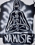 Stencil Art Paintings - Namaste Black n White by Tony B Conscious