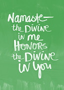 Joy Framed Prints - Namaste Card Framed Print by Linda Woods