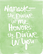 Motivation Prints - Namaste green and white Print by Linda Woods