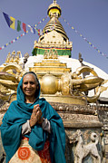 Buddhist Clothing Prints - Namaste Greeting Nepal Print by Kevin Miller