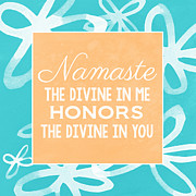 Namaste Posters - Namaste Watercolor Flowers- blue Poster by Linda Woods