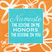 Orange Art Posters - Namaste Watercolor Flowers Poster by Linda Woods