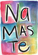 Card Mixed Media Prints - Namaste Watercolor Print by Linda Woods
