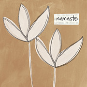 Brown Mixed Media Metal Prints - Namaste White Flowers Metal Print by Linda Woods