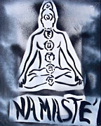 Affirmation Painting Prints - Namaste White n Black Print by Tony B Conscious