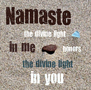 Textual Images - Namaste with Beach Glass and Pebble by Michelle Calkins