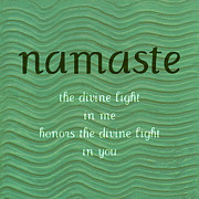 Enjoying Life Prints - Namaste with Blue Waves Print by Poetry and Art