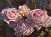 Queen City Paintings - Nanas Roses by Karen Whitworth
