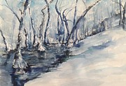 Arkansas Paintings - Nancys Creek Winter of 2012 by Robin Miller-Bookhout