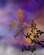 Haze Mixed Media Metal Prints - Nandina The Beautiful Metal Print by Bedros Awak