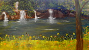 Waterfalls Paintings - Nandroy Falls in Queensland by Pamela  Meredith
