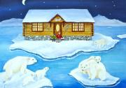 Log Cabin Art Painting Posters - Nanook of the North Poster by Virginia Ann Hemingson