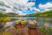 Moored Boat Framed Prints - Nantlle Lake Framed Print by Adrian Evans
