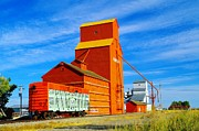 Elevators Prints - Nanton Grain Elevators  Print by Jeff  Swan