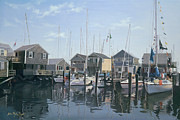Atlantic Beaches Painting Framed Prints - Nantucket Harbor Meet Framed Print by OMalley Keyes