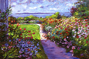 Nantucket Paintings - Nantucket Island Garden by  David Lloyd Glover