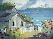 Cottage Print Paintings - Nantucket Retreat by Joyce Hicks