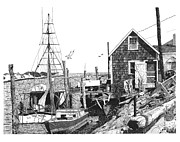 Dock Drawings - Nantucket Wharf by Paul Kmiotek