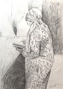 Live Art Drawings Prints - Naomi Praying for her Ten Children Print by Esther Newman-Cohen