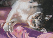 Cushion Pastels Prints - Nap time for Kitty Print by Janice Harris