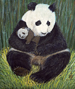 Panda Bear Paintings - Nap Time by Komi Chen