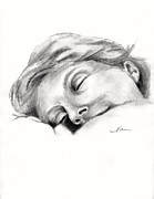Serene Drawings Prints - Nap Time Print by Nan Wright