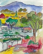 Vineyard Landscape Mixed Media Prints - Napa Valley II Print by Janel Bragg