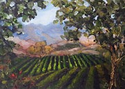 California Vineyard Paintings - Napa Valley by Kat  Tatz
