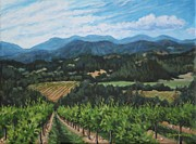 Grapevines Posters - Napa Valley Vineyard Poster by Penny Birch-Williams