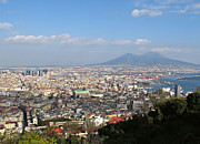 Italian Landscape Framed Prints - Naples Panoramic View Framed Print by Kiril Stanchev