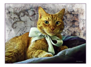 Furry Friends Prints - Napoleon and the Ribbon Print by Joan  Minchak
