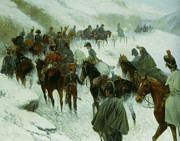 Jan Prints - Napoleon Leading His Troops Through Guadarrama Mountains Print by Jan Von Chelminski