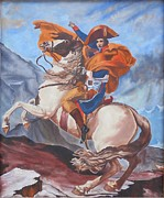 Swiss Painting Originals - Napoleon on a Horse in the Alps by Renate Pampel