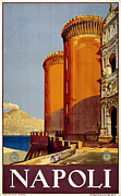 Italian Sunset Posters - Napoli Italy Poster by Nomad Art And  Design