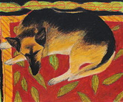 Sleeping Dog Pastels Posters - Napping Poster by Jeanne Fischer