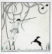 Dancer Art Framed Prints - Narcisse Framed Print by Georges Barbier