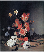 Anemones Paintings - Narcissi Anemones Tulips and Other Flowers by Dirck De Bray