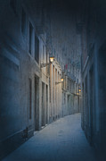 Gas Lamps Prints - Narrow Alleyway In Barcelona At Night With Gas Lamps Print by Lee Avison