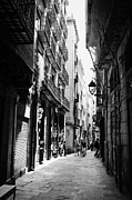 Gotic Framed Prints - Narrow City Streets In The Gothic Quarter Barcelona Catalonia Spain Framed Print by Joe Fox